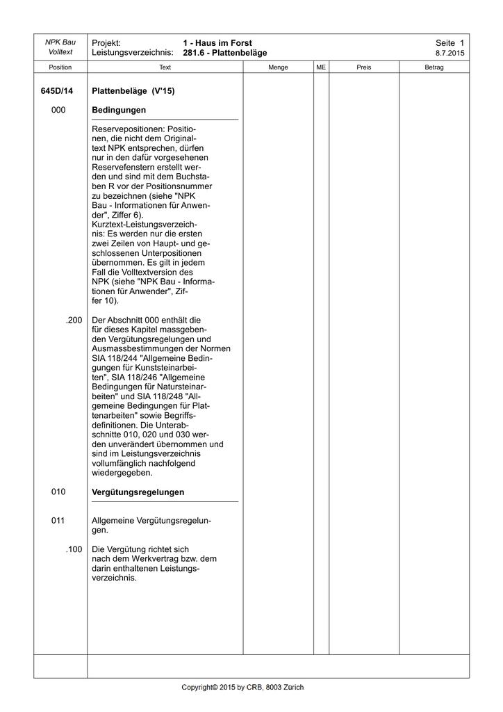 NPK D Plattenbeläge - Verlegearten platten