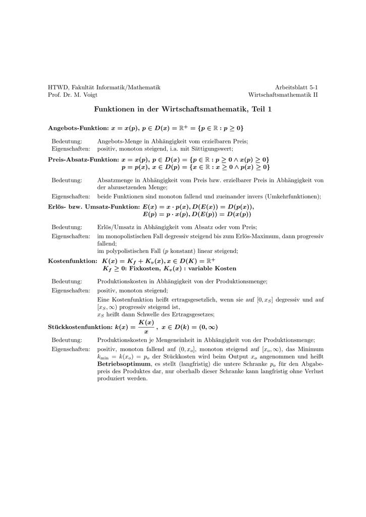 Funktionen in der Wirtschaftsmathematik, Teil 1
