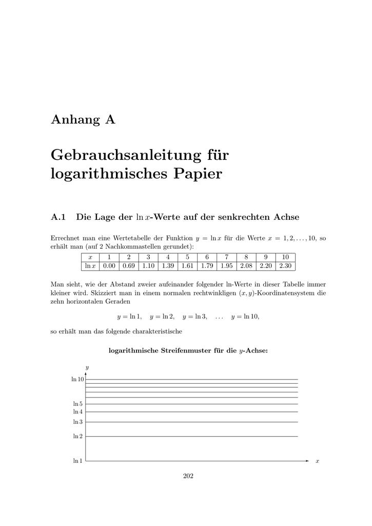 halb logarithmisches papier