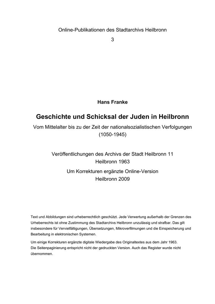 Geschichte und Schicksal der Juden in Heilbronn - Johann