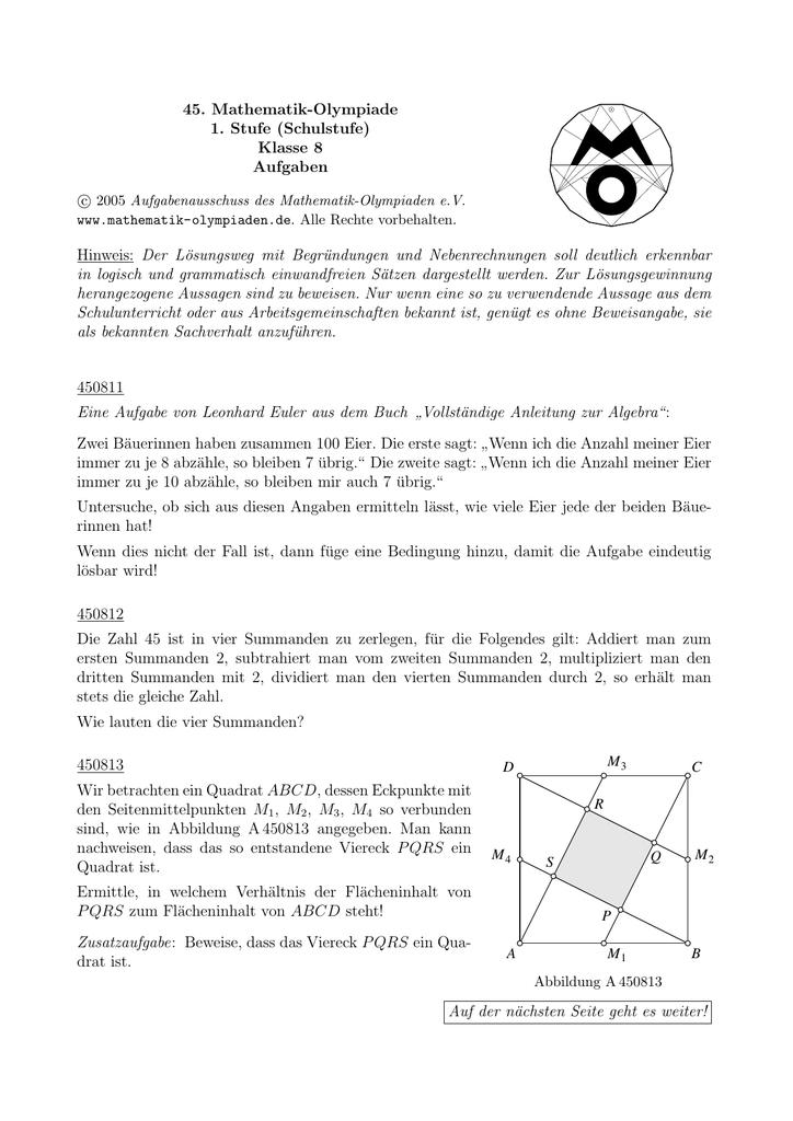 Großzügig 8. Klasse Algebra 1 Buch Bilder - Mathematik & Geometrie ...