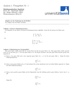 Problem Set 1 - Mathematisches Institut der Universität Bonn