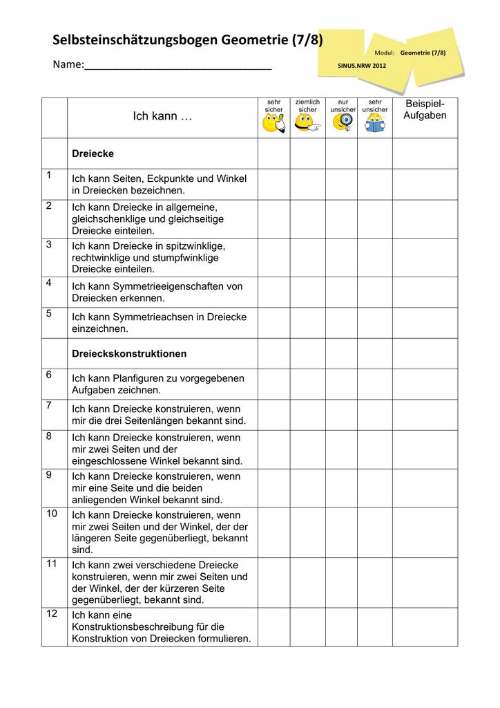 Selbsteinschätzungsbogen Geometrie (7/8)
