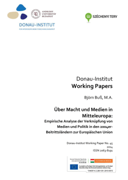 Donau-Institut Working Papers - Andrássy Universität Budapest