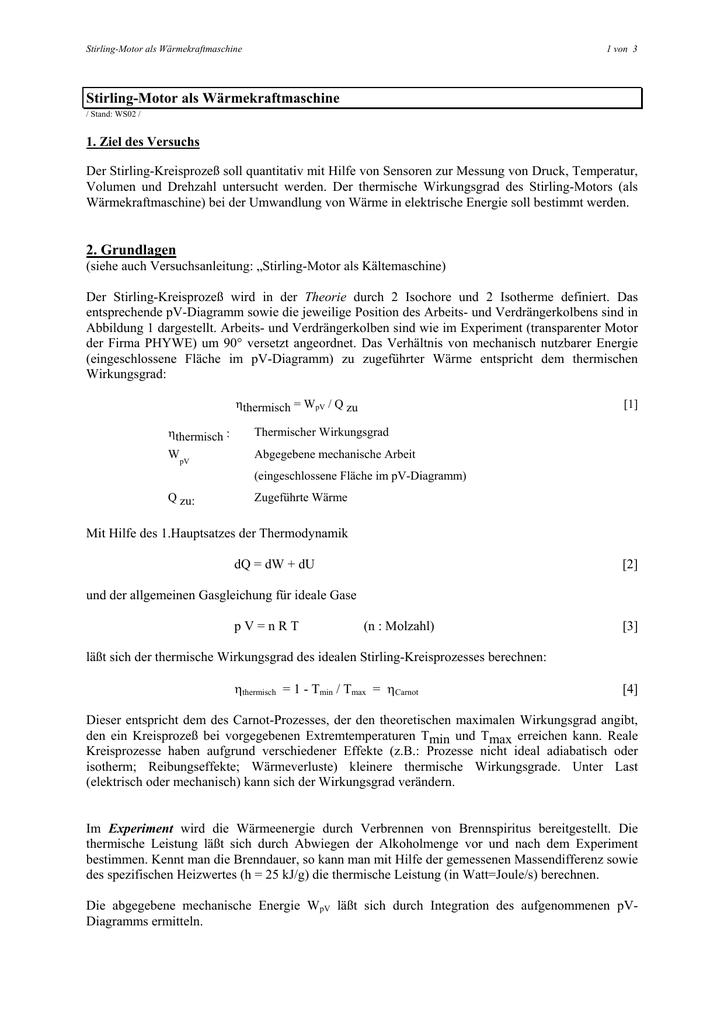 Stirling-Motor als Wärmekraftmaschine 2. Grundlagen