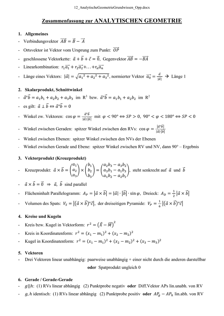 Grundwissenblatt Analytische Geometrie - mathe