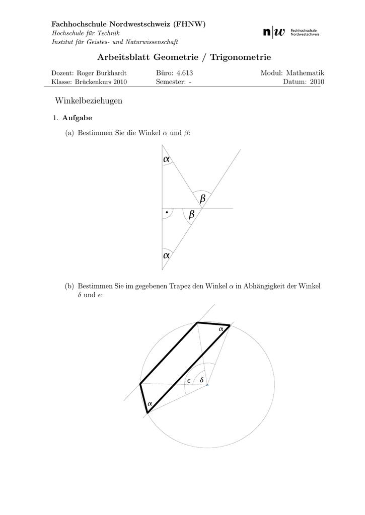 Arbeitsblatt Geometrie Trigonometrie Winkelbeziehugen