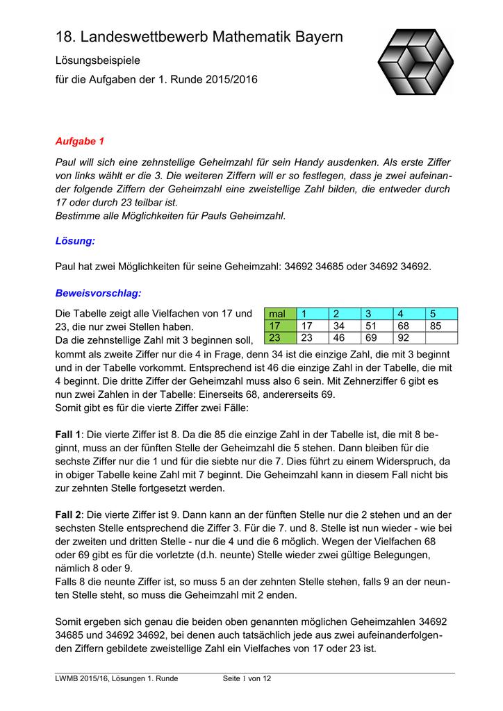 18. Landeswettbewerb Mathematik Bayern