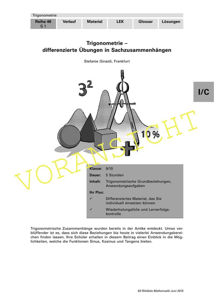 Schön Trigonometrie Arbeitsblätter Jahr 9 Zeitgenössisch - Super ...