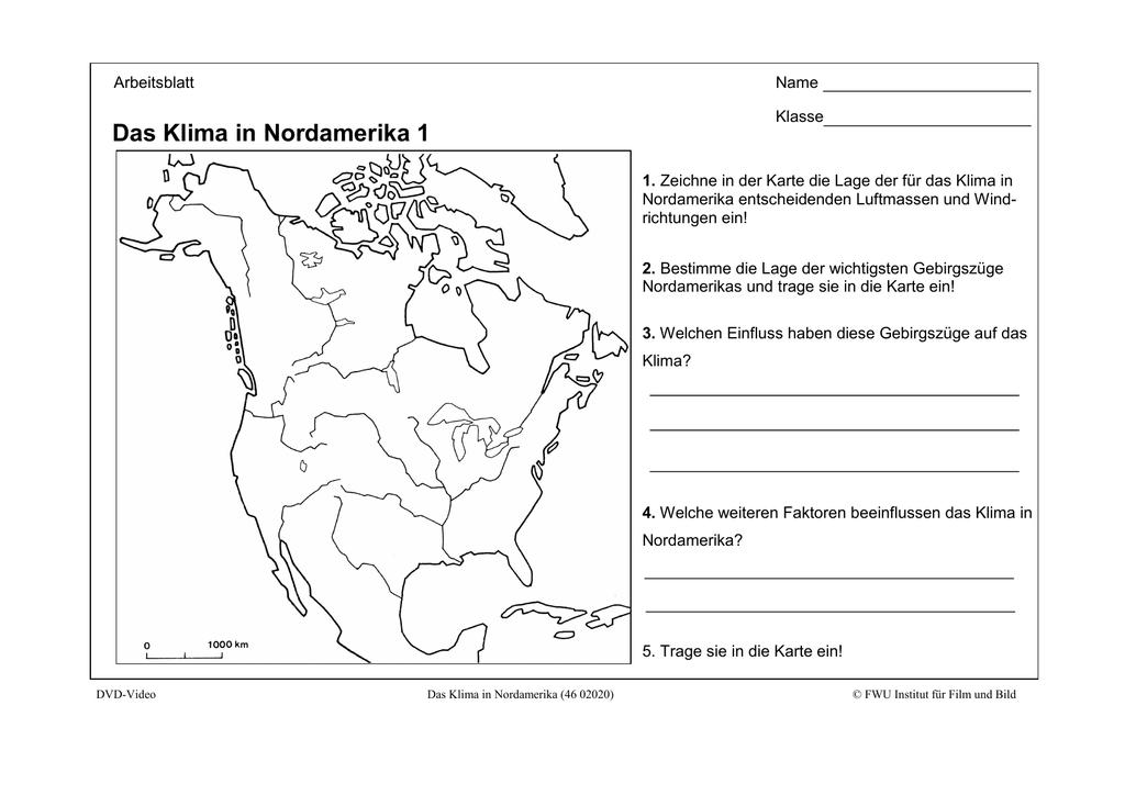 Karte Nordamerikas.Das Klima In Nordamerika 1