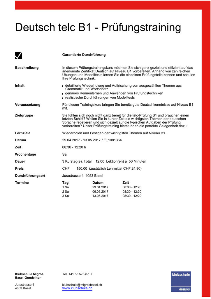 Deutsch Telc B1 Prüfungstraining
