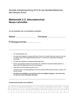 Mathematik 2./3. Sekundarschule Neues Lehrmittel Name
