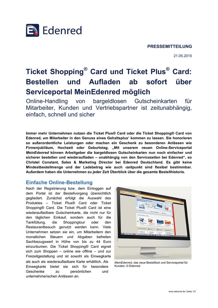 Www Mein Edenred De Karte Registrieren.Ticket Shopping Card Und Ticket Plus Card Bestellen Und Aufladen