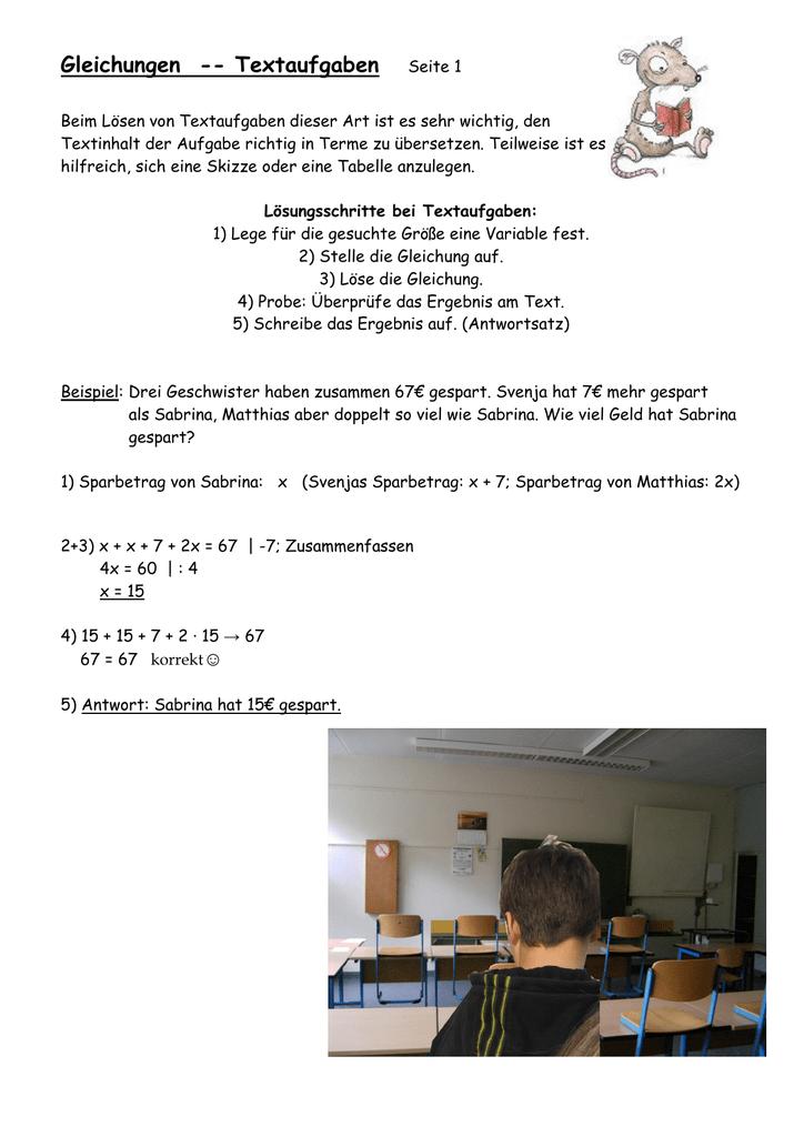 Ausgezeichnet 5Klasse Mathematik Textaufgaben Einer Tabelle Mit ...
