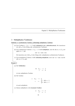Kapitel 2: Multiplikative Funktionen 3 Multiplikative Funktionen