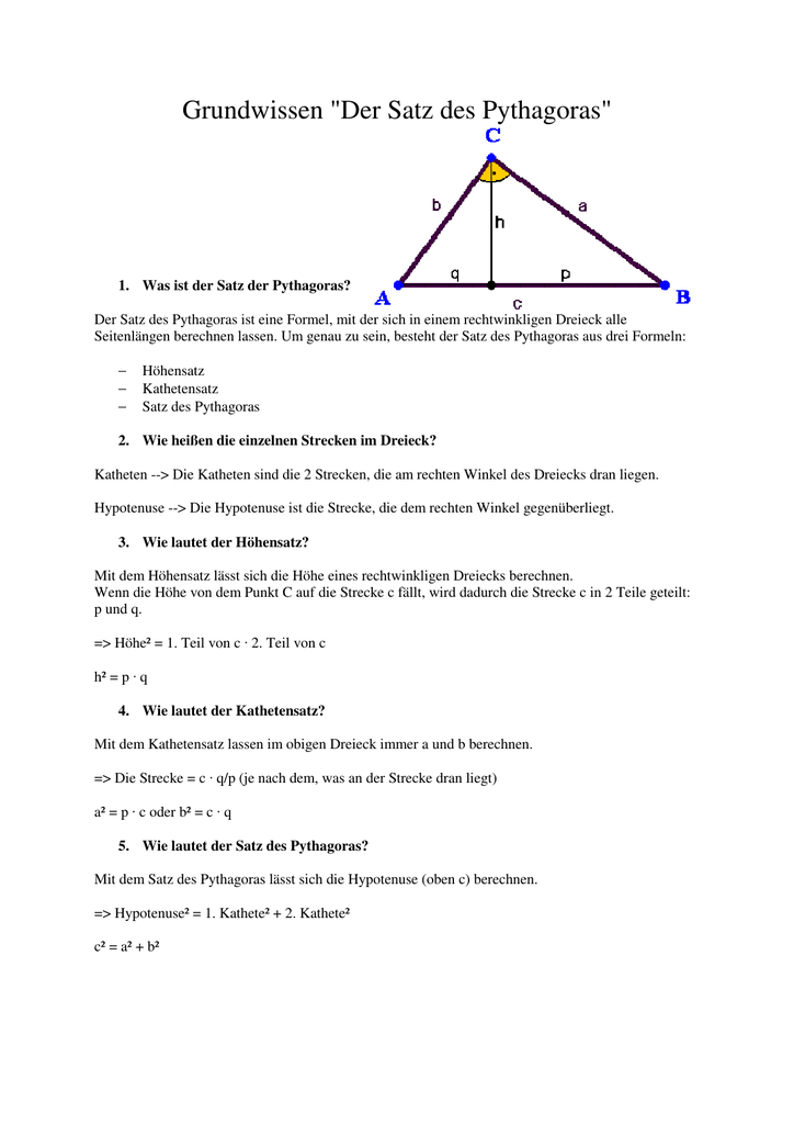 Schön Satz Des Pythagoras Arbeitsblatt Fotos - Arbeitsblätter für ...