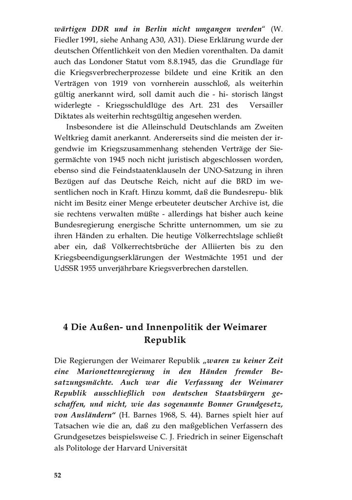 Die Aussen- und Innenpolitik der Weimarer Republik