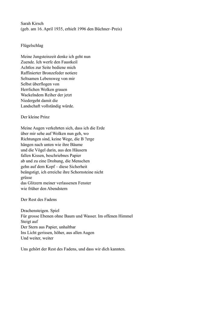 Kirsch Gedichte