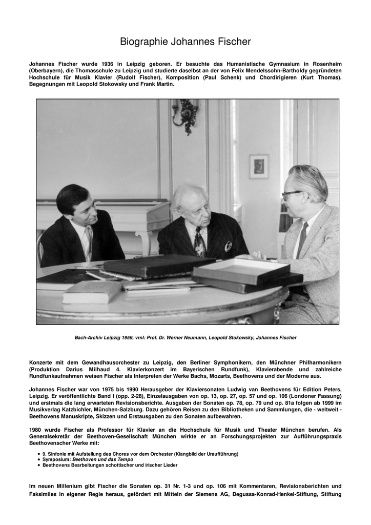 Biographie Johannes Fischer Neueste Edition Der Klaviersonaten