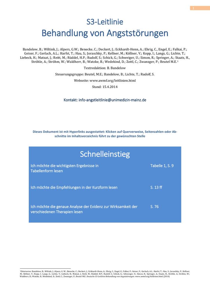 S3-Leitlinie Angststörungen