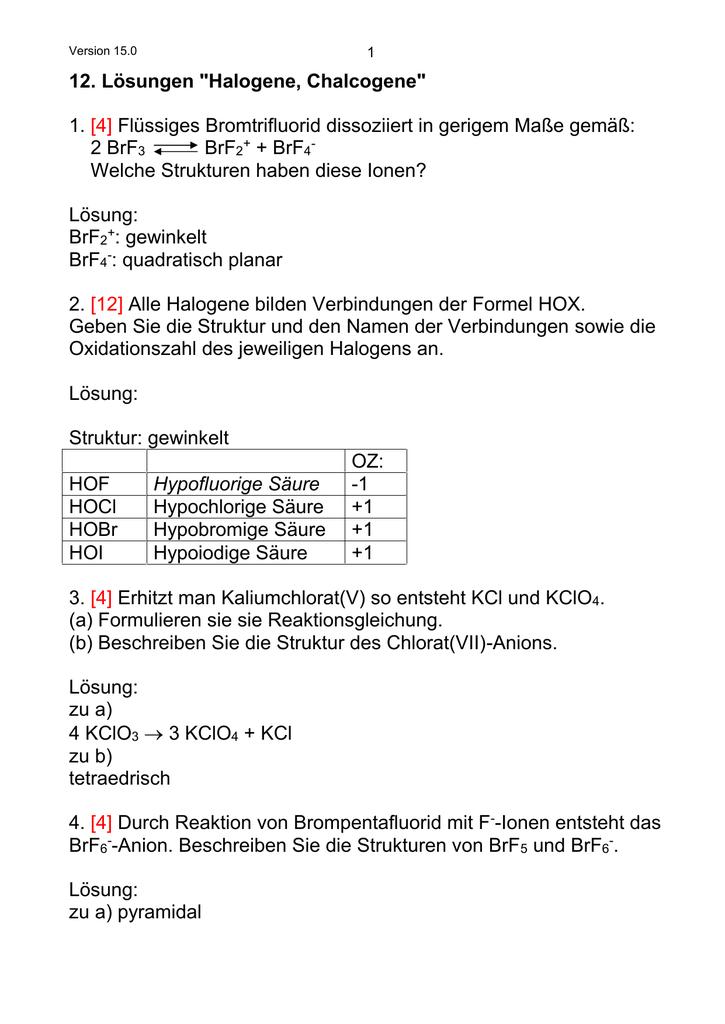 12 Lösungen Halogene Chalcogene 1 4 Flüssiges
