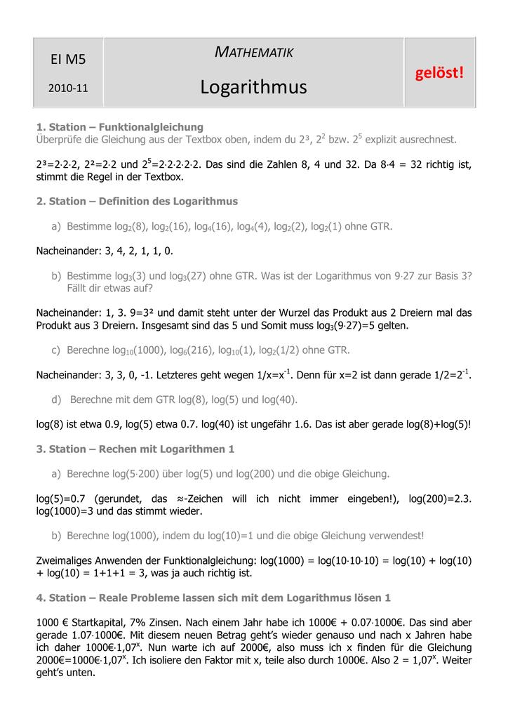 Arbeitsblatt Logarithmus Lösung - steffen