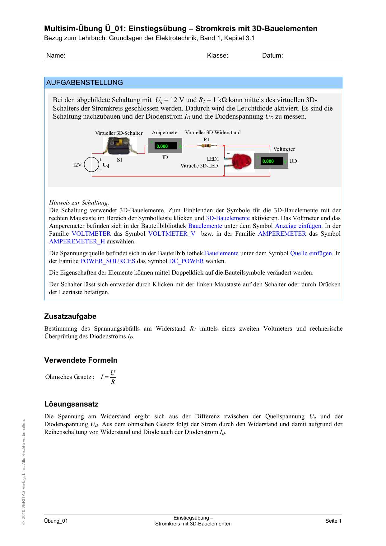 Arbeitsblatt zu CD-ROM Elektrotechnik