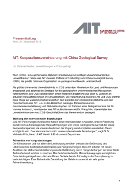 AIT: Kooperationsvereinbarung mit China Geological Survey