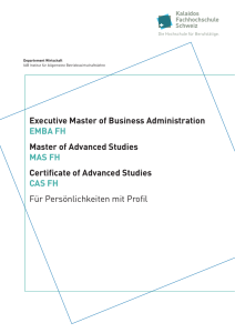 Executive Master of Business Administration EMBA FH Master of