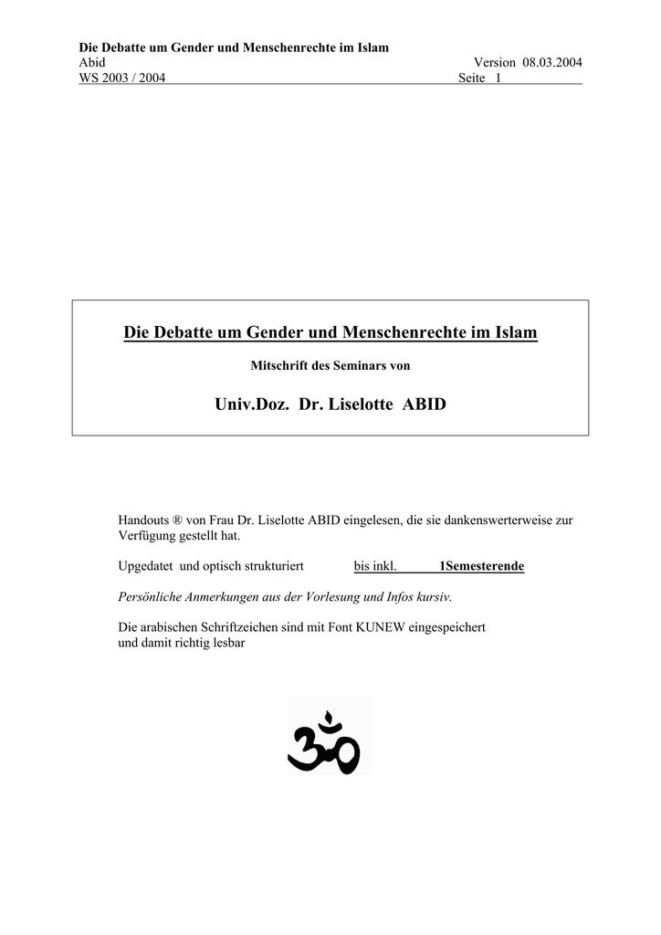 aufgaben rechte pflichten der frau im islam