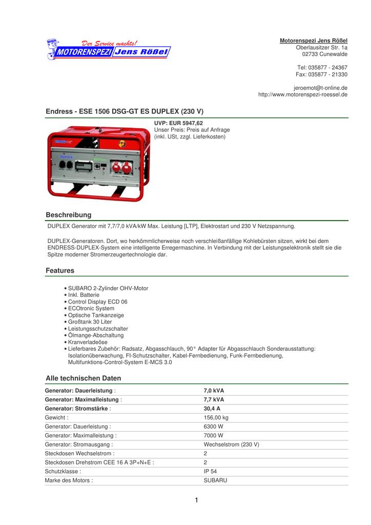 Endress - ESE 1506 DSG-GT ES DUPLEX (230 V) Beschreibung