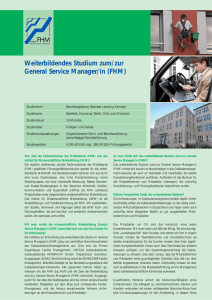 Weiterbildendes Studium zum/zur General Service Manager/in (FHM)