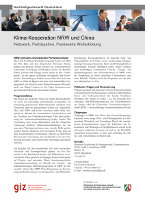 Factsheet Klima-Kooperation NRW und China