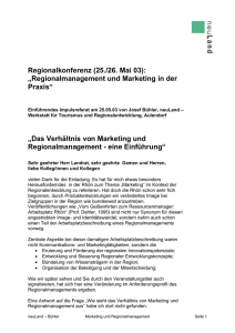 Regionalmanagement und Marketing in der Praxis