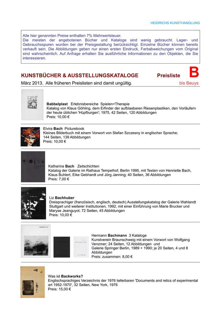 Bücher B bis Beuys - Heidrichs Kunsthandlung