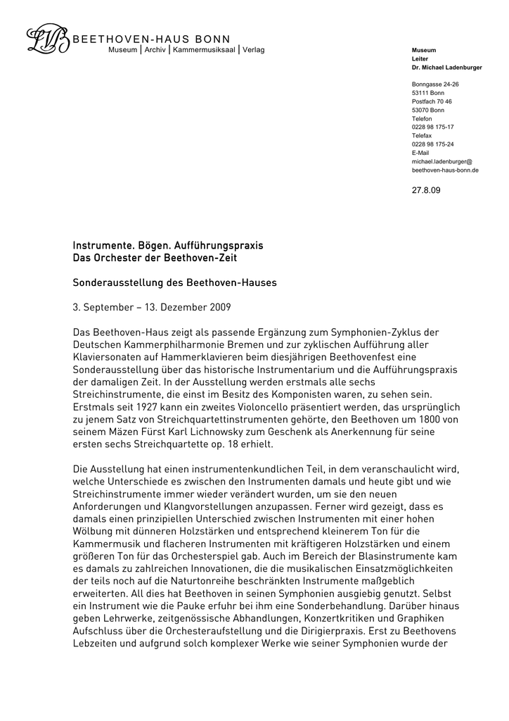 BEETHOVEN-HAUS BONN Instrumente  Bögen  Aufführungspraxis