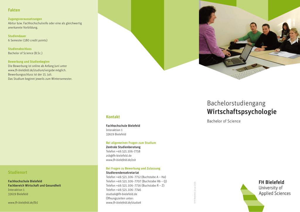 flyer bachelorstudiengang wirtschaftspsychologie - Fh Bielefeld Bewerbung