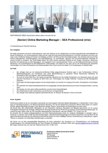 (Senior) Online Marketing Manager – SEA Professional (m/w)