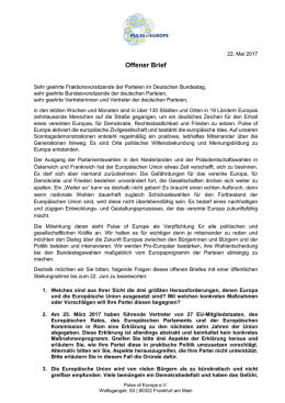 Offener Brief - PulseOfEurope