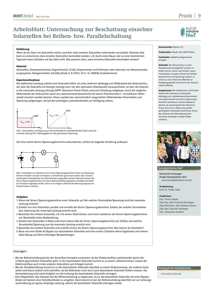 P Arbeitsblatt: Untersuchung zur Beschattung einzelner Solarzellen