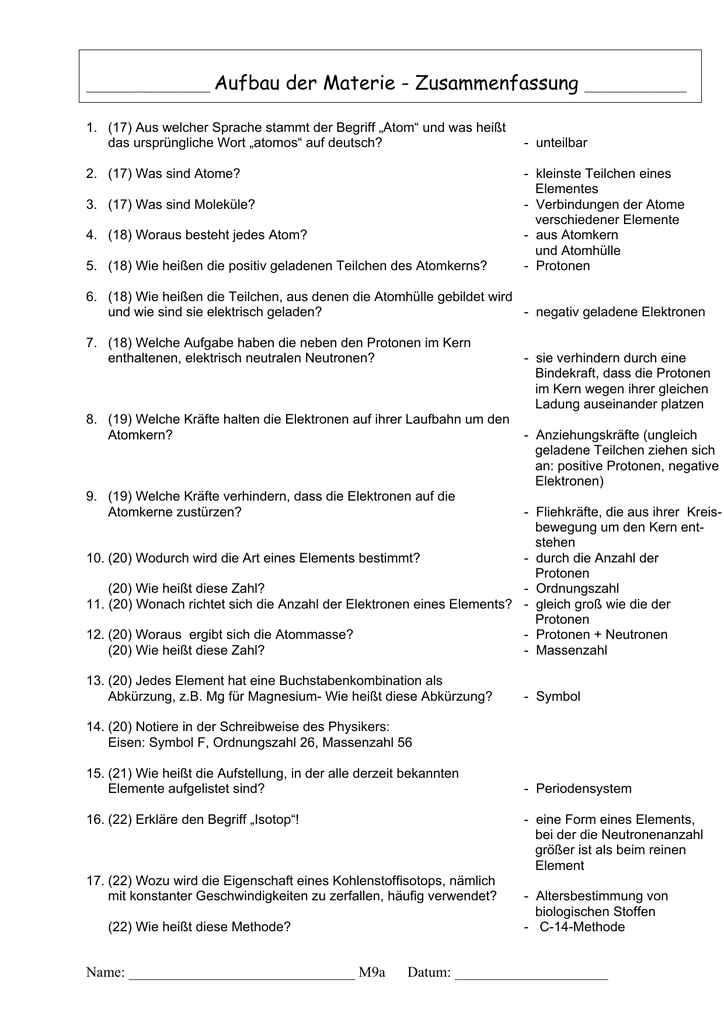Famous Arbeitsblatt Auf Atom Elemente Und Verbindungen Sketch ...