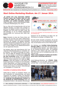 Online-Marketing-Studium. Am 17. Januar 2014.