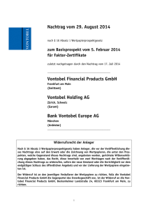 Nachtrag vom 29. August 2014 Vontobel Financial Products GmbH