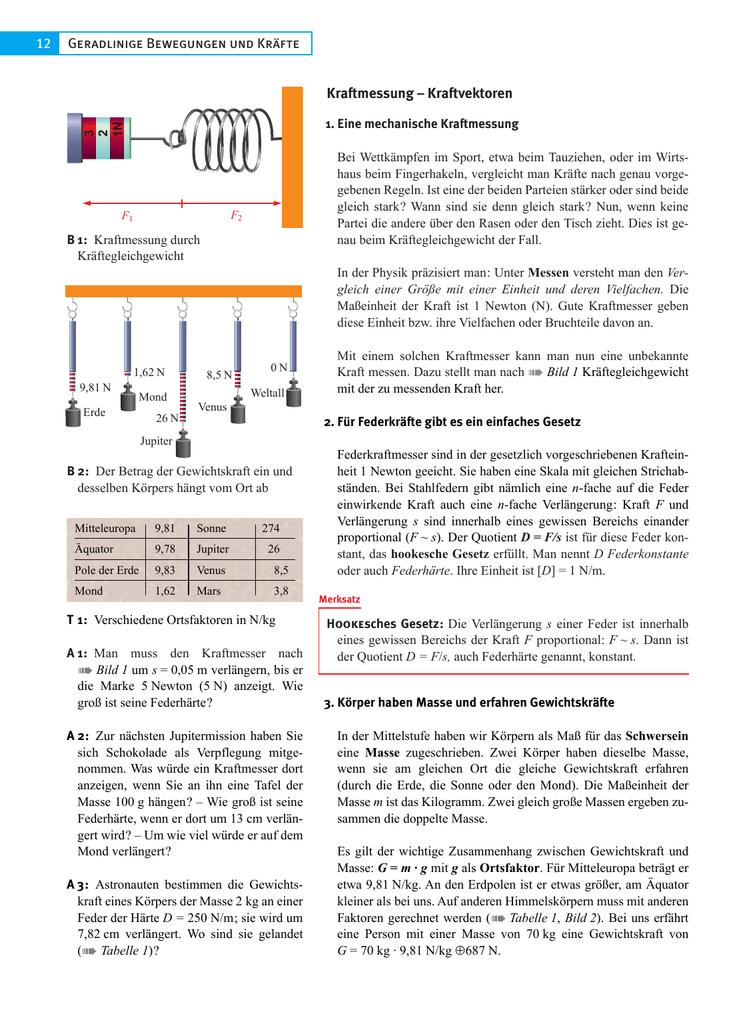 Geradlinige Bewegungen und Kräfte 12 Kraftmessung – Kraftvektoren
