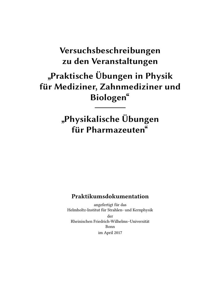 Anleitung Medizinerpraktikum
