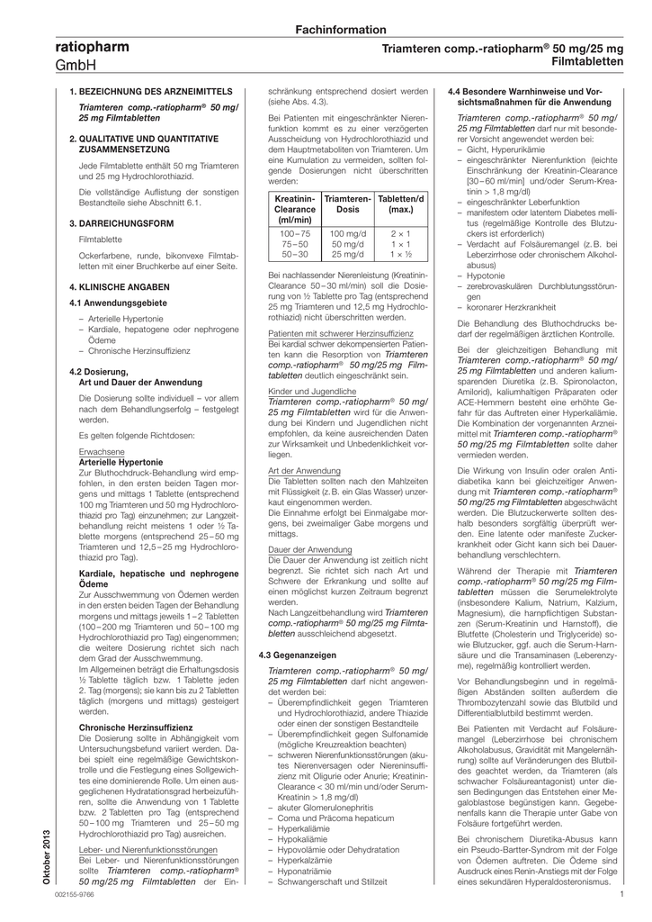 Triamteren comp.-ratiopharm® 50 mg/25 mg Filmtabletten