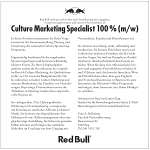 Culture Marketing Specialist 100 % (m/w)