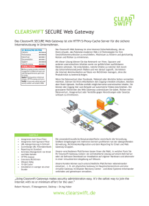 CLEARSWIFT SECURE Web Gateway www.clearswift.de