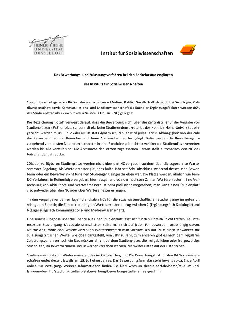 institut fr sozialwissenschaften ba sozialwissenschaften - Uni Dsseldorf Bewerbung