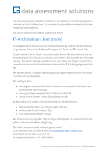 IT-Architekten .Net (m/w) - Data Assessment Solutions